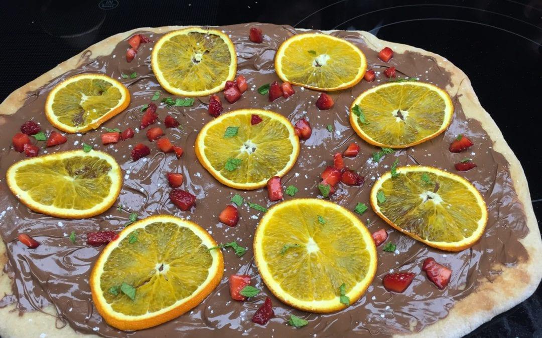 Deliciosa receta de pizza de naranja y chocolate