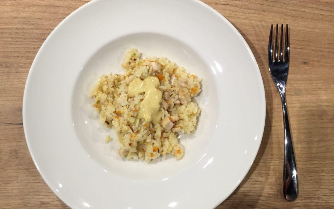 Receta de salteado de arroz Jazmín con verduritas y pollo al curry