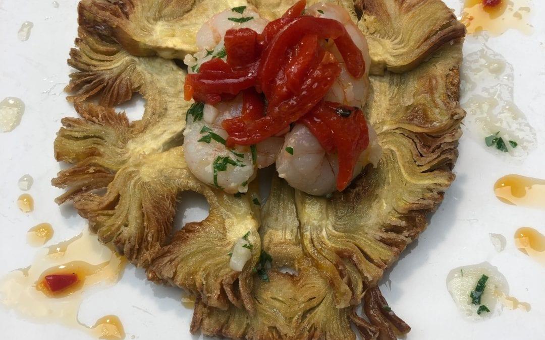 Receta de corona de alcachofas con gambas
