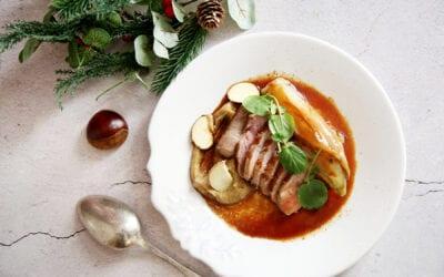 Receta: Taco de presa ibérica con hummus de castaña y endivia glaseada