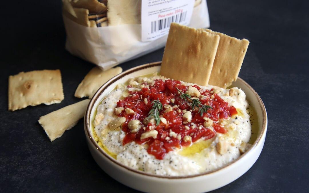 Receta: Hummus de alubias con muhammara y crackers de la Zarola